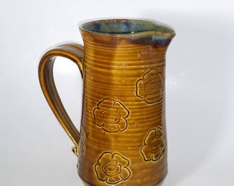 Amber and Green Pitcher - Wheel Thrown Pottery - Heavy Duty - Perfect for a Large Flower Arrangement