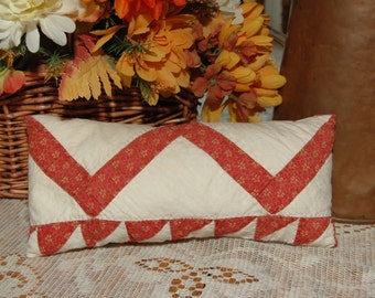 Antique Red White Fabric Zig Zag Quilt Coverlet Long Pillow Christmas
