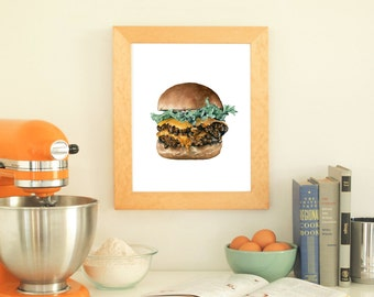Cheeseburger Print No.1, Cheeseburger Illustration, Food Print, Burger, Kitchen Art, Food Art, Diner, Watercolor Food, Watercolor Art, Art