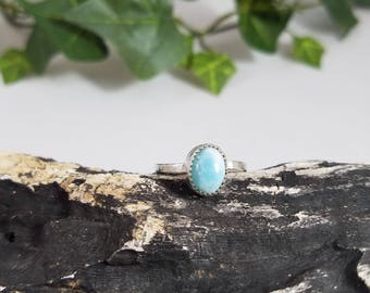 Sterling silver Larimar Ring, sterling silver rings, larimar jewelry, meaningful jewelry, light blue, simple ring, handmade rings, larimar