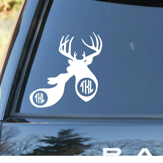 Couples monogram decal buck and doe monogram decal decals for yeti cups personalized decals for car decals for macbook girly decal from