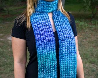 Blaue Hand stricken Damen Schal - Ozean Blau Vegan - Boho Schal - Hipster Schal - Acryl-Schal - blau langer Grobstrick Schal - Rib Stitch