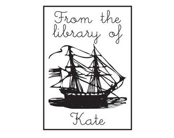 clipper sailing ship from the library of bookplate ex libris custom Rubber Stamp