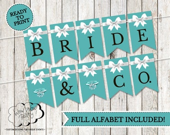 Bridal Party Banner - Tiffany Party Banner - Baby Shower Party - Full alfabet included - Instant Download - Girl's Party - Bridal Shower