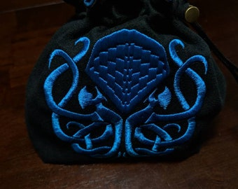 Large Embroidered Knotwork Cthulhu Dice Bag - Made to Order