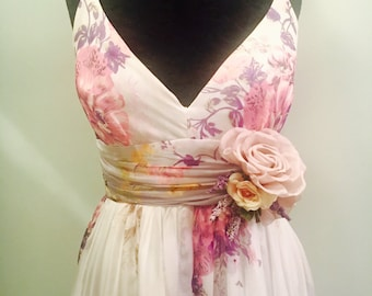 Lavender Floral Wedding Dress Silk Chiffon Size 8