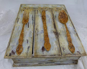 Shabby Chic Distressed Kitchen Utensil Holder With Vintage Handles (Only 6 Left)