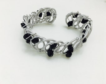 Silver aluminum wire cuff bracelet women gift for her