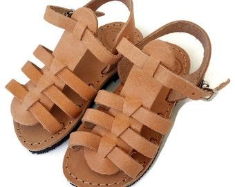 Gladiator niños, hecho a mano griego niños sandalias, sandalias de niña correas sandalias niños, sandalias de cuero para niños, tradicional gladiator