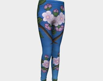 Cherry Blossoms at Night - Fine Art All Over Print Girls Leggings