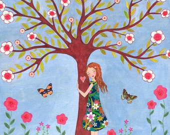 Folk Art Girl Painting Art Print Love Nature