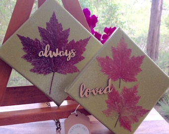 Nature Art Canvas 'Autumn Moss'  Bowral Maple Leaves. Set of 2 Original Canvas Art Wall Hangings. Gifts for Mum from the garden Always Loved