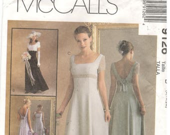 McCall's 9126 Size 8, 10, 12 Women's wedding dress pattern: Long formal gown, low back, sleeveless or short sleeve, Alicyn Exclusives