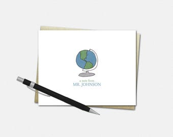 Teacher Note Cards - Personalized Folded Note Cards for Teachers - Custom Teacher Stationery | globe history geography appreciation gift