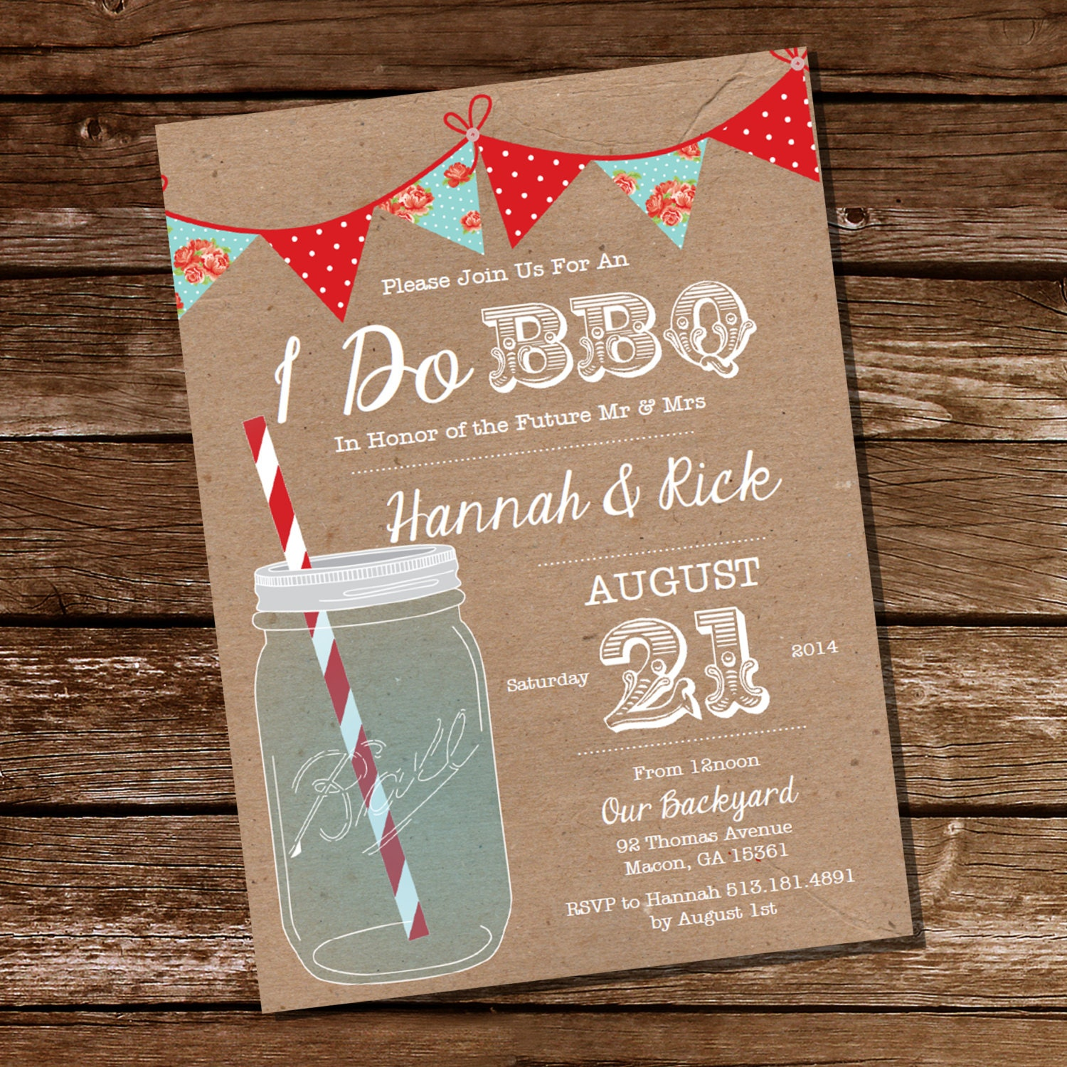 Chic I Do BBQ lnvitation Engagement Party Invitation