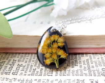 Goldenrod real flower tear drop necklace - free gift box - botanical necklace - handmade gifts for women - statement necklace