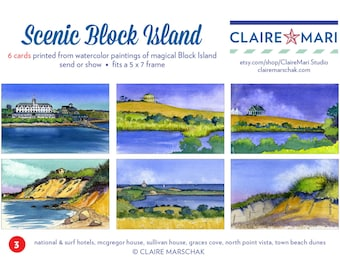 Scenic Block Island greeting card set , 6 watercolor images, blank , collection #3