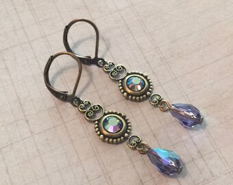 Tanzanite AB Crystal  Antiqued Brass Filigree Leverback Earrings