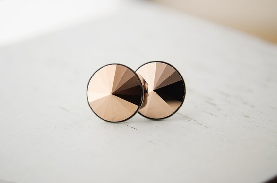Rose Gold Earrings | Swarovski Crystal Post Earrings | Rose Gold Pointed Round Rivoli Earrings | Stud Earrings