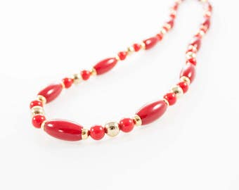 Vintage Red Gold Lucite Beaded Necklace