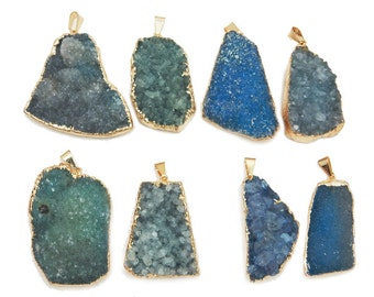 10% off Large Freeform Teal Druzy Pendant with Electroplated 24k Gold Edge DDZ - (S100B17-03)