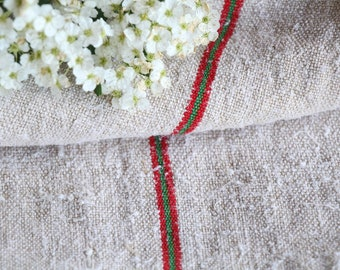 FP 553: antique handloomed, CHERRY RED Lemon Green, 51.18 inches long, upholstery project, old linen fabric, vintage linen, do it yourself