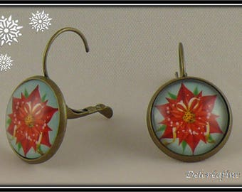 Earrings cabochon 16 mm red poinsettia Christmas