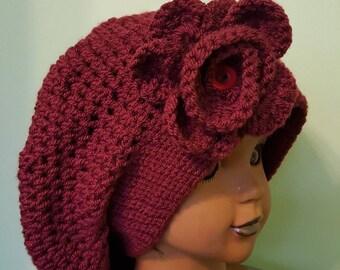 Crochet Beret with Flower
