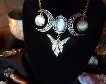 Black Necklace Pagan middle Age Gothic antique silver white gift set three moon Crescent Lunar moon goddess Elf