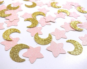 Moon and Stars Confetti, Moon and Stars Garland, Pink Gold Birthday