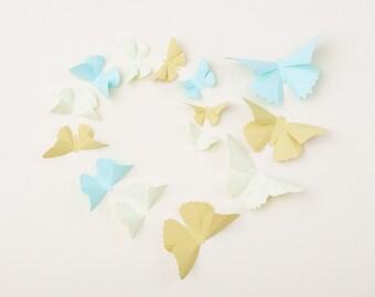 Pastel Wall Butterflies: 3D Butterfly Wall Art for Gender Neutral Nursery, Home Decor in Aqua, Anise & Honeydew