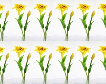 Yellow Lily with leaves, 1.0 USD for bunch of bud and blossom, set of 12 bunches