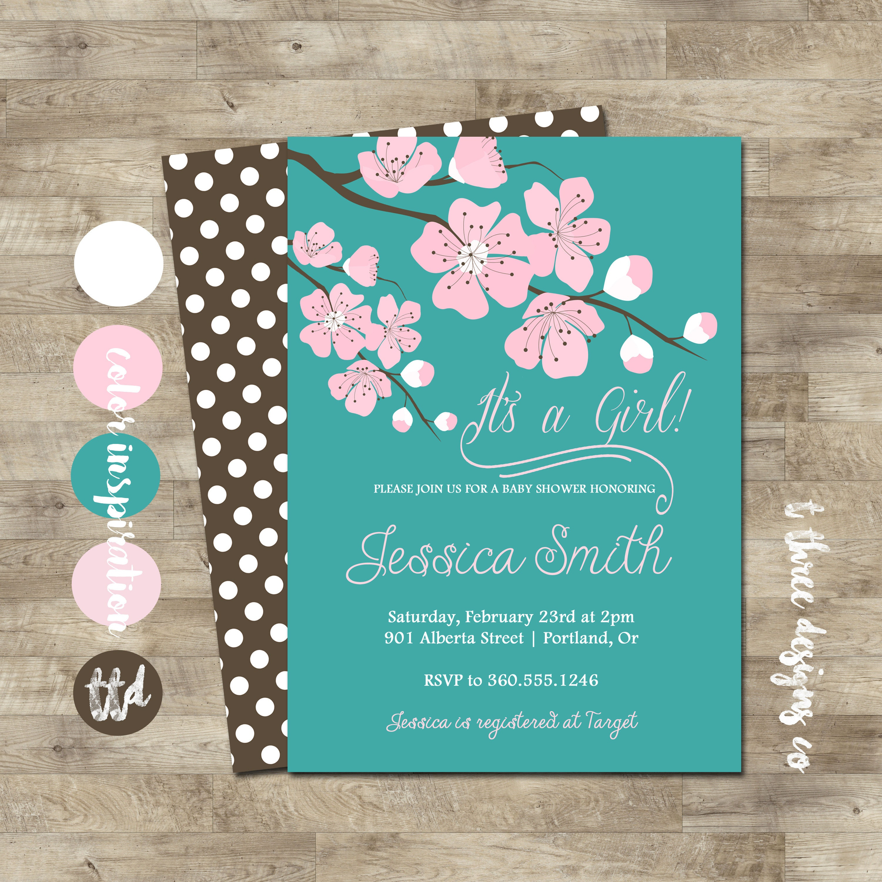Cherry Blossom Baby Shower Invitations Choice Image - Invitation ...