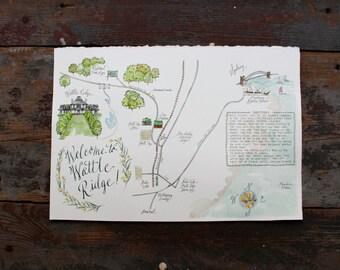 Made to Order - Custom Watercolor Map Wedding Map - Australia Custom Map