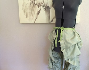 Mint Green Tie on Bustle Skirt - Upcycled