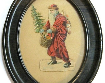 Vintage Dye Cut Victorian Paper Santa Ephemera Framed Tin