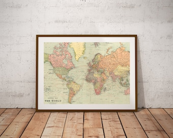 World map poster etsy world map world gumiabroncs Choice Image
