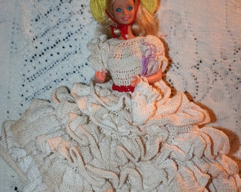 Barbie and Gorgeous Cream Crochet Dress&Bloomers, w/yellow hat w/red, and purse