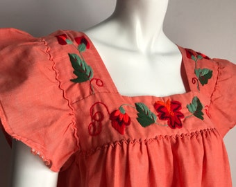 Unbranded OS Orange Cotton 70's Dress Maxi Full Length Hand Embroidery Gipsy Bohemian