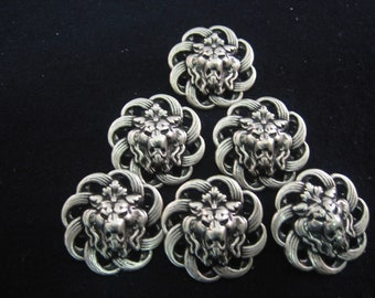 """Pewter button, Filagree Button  7/8"""" (23mm) Lot of 4 Large"""
