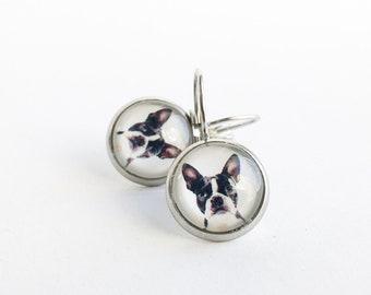 Dormeuses en acier inoxydable image de chien, Boucles d'oreilles noires, Acier inoxydable, Boucles d'oreilles pour femme, Bijoux fleurs