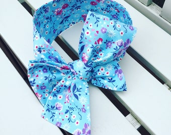 Baby toddler Girl's Headwrap Big Bow Cotton Headband turban bandana hair bow in blue navy pink lilac vintage style rose floral cotton fabric