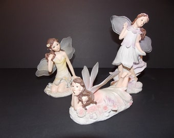 Beautiful poly-stone fairies/set of 3 with mesh wings Greenbrier International
