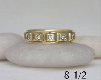 Diamond and 18k yellow gold ring band, size 8 1/2,  #303.
