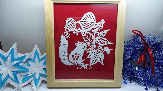 Papercut template squirrle and wild flowers digital file description solutioingenieria Images