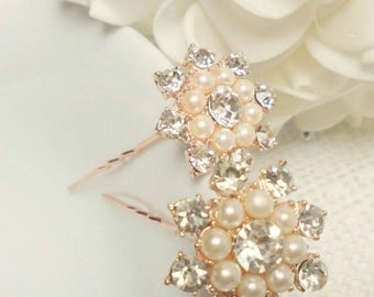 Bridal hair pins, rose gold hair pins, wedding hair pins, pearl and rhinestone hair pins, bridesmaids hair pins, gold Hair pins,