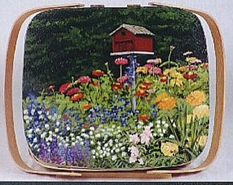 casserole/cake baskeT, Custom painted birdhouse in garden lid on basket,garden scene,basket,bright colors,handmade lid on basket,pie basket