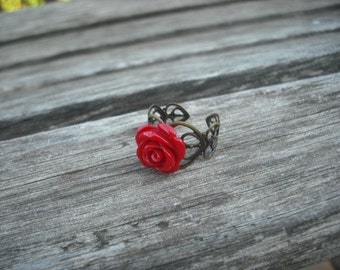 Bridesmaid Gift, Antique Brass Ring, Ice Red Rose Ring, Flower Girl Gift, Bridesmaid Ring, Wedding Gift, Birthday Gift