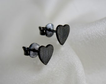 Heart Studs Silver Black Oxidized or gold plated heart stud earrings silver black oxidized or gilded