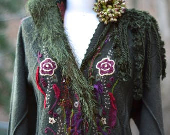 Long patchwork COAT, wearable art, boho Fantasy, floral coat, Woodland style, festival refashioned clothing. Size LX/XXL. Ready to ship